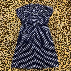 Navy polka dot vintage dress